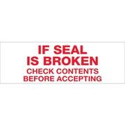 """Tape Logic® Pre-Printed Carton Sealing Tape, """"If Seal Is Broken..."""", 2"""" x 55 yds., Red/White, 18/Case"""