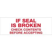 """Tape Logic® Pre-Printed Carton Sealing Tape, """"If Seal Is Broken..."""", 2"""" x 55 yds., Red/White, 6/Case"""