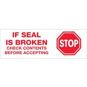 Tape Logic™ 3 Pre Printed Stop If Seal Is Broken Carton Sealing Tape, Red On White, 24/Case