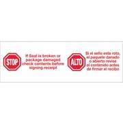 "Tape Logic® Pre-Printed Carton Sealing Tape, ""Stop / Alto"", 2"" x 110 yds., Red/White, 6/Case"