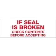 """Tape Logic® Pre-Printed Carton Sealing Tape, """"If Seal Is Broken..."""", 2"""" x 55 yds., Red/White, 36/Case"""