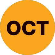 "Tape Logic™ 2"" Circle ""OCT"" Months of the Year Label, Fluorescent Orange, 500/Roll"