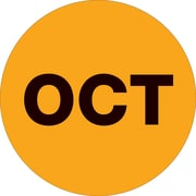 "Tape Logic™ 1"" Circle ""OCT"" Month of the Year Labels, Fluorescent Orange, 500/Roll"
