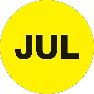Tape Logic™ 1in. Circle in.JULin. Month of the Year Labels, Fluorescent Yellow, 500/Roll
