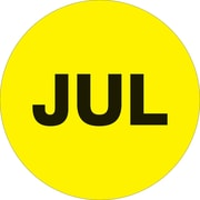 "Tape Logic™ 1"" Circle ""JUL"" Month of the Year Labels, Fluorescent Yellow, 500/Roll"