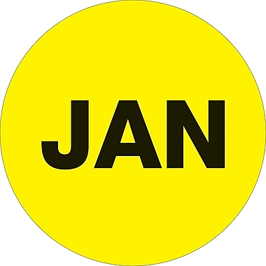 Tape Logic™ 1in. Circle in.JANin. Month of the Year Labels, Fluorescent Yellow, 500/Roll