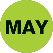 "Tape Logic™ 2"" Circle ""MAY"" Months of the Year Label, Fluorescent Green, 500/Roll"