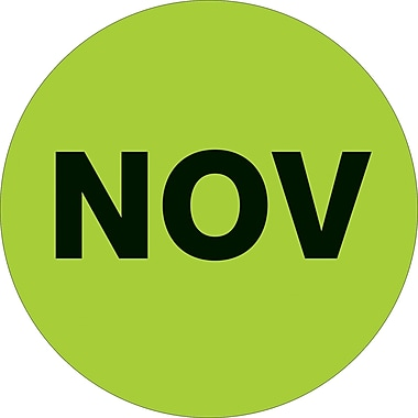 Tape Logic™ 1in. Circle in.NOVin. Month of the Year Labels, Fluorescent Green, 500/Roll