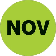 "Tape Logic™ 1"" Circle ""NOV"" Month of the Year Labels, Fluorescent Green, 500/Roll"