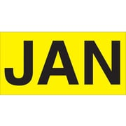 "Tape Logic™ 6"" x 3"" Rectangle ""JAN"" Months of the Year Label, Fluorescent Yellow, 500/Roll"