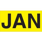 "Tape Logic™ 3"" x 2"" Rectangle ""JAN"" Months of the Year Label, Fluorescent Yellow, 500/Roll"
