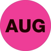 "Tape Logic™ 2"" Circle ""AUG"" Months of the Year Label, Fluorescent Pink, 500/Roll"