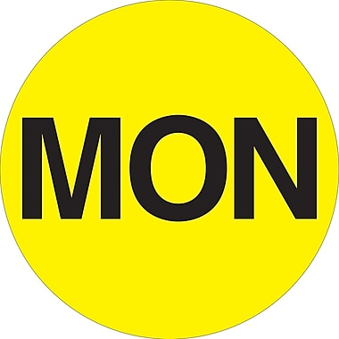 Tape Logic™ 1in. Circle in.MONin. Days of the Week Label, Fluorescent Yellow, 500/Roll