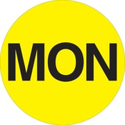 "Tape Logic™ 1"" Circle ""MON"" Days of the Week Label, Fluorescent Yellow, 500/Roll"