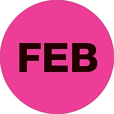 Tape Logic™ 1in. Circle in.FEBin. Month of the Year Labels, Fluorescent Pink, 500/Roll