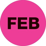 "Tape Logic™ 1"" Circle ""FEB"" Month of the Year Labels, Fluorescent Pink, 500/Roll"