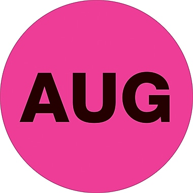 Tape Logic™ 1in. Circle in.AUGin. Month of the Year Labels, Fluorescent Pink, 500/Roll