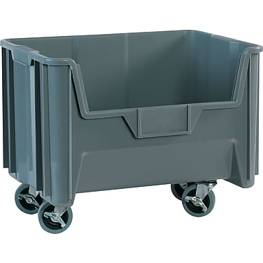 BOX 19 7/8in. x 15 1/4in. x 12 7/16in. Mobile Giant Stackable Bin, Gray