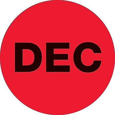 Tape Logic™ 1in. Circle in.DECin. Month of the Year Labels, Fluorescent Red, 500/Roll