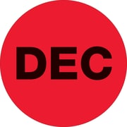 "Tape Logic™ 1"" Circle ""DEC"" Month of the Year Labels, Fluorescent Red, 500/Roll"