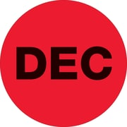 "Tape Logic™ 2"" Circle ""DEC"" Months of the Year Label, Fluorescent Red, 500/Roll"