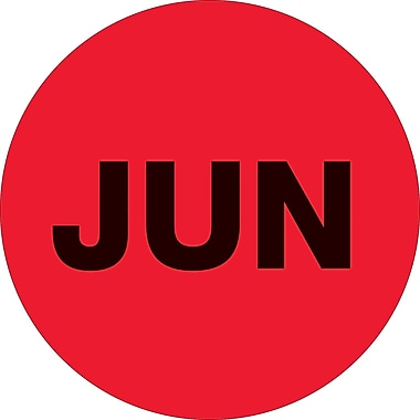 Tape Logic™ 1in. Circle in.JUNin. Month of the Year Labels, Fluorescent Red, 500/Roll