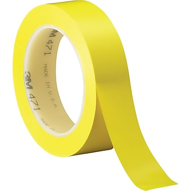 3M™ 1in. x 36 yds. Solid Vinyl Safety Tape 471, Yellow, 3/Pack