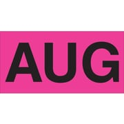 Tape Logic™ 6 x 3 Rectangle AUG Months of the Year Label, Fluorescent Pink, 500/Roll