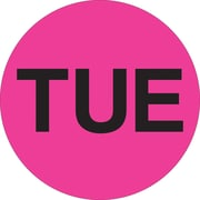 "Tape Logic™ 2"" Circle ""TUE"" Days of the Week Label, Fluorescent Pink, 500/Roll"