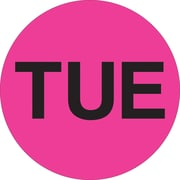 "Tape Logic™ 1"" Circle ""TUE"" Days of the Week Label, Fluorescent Pink, 500/Roll"