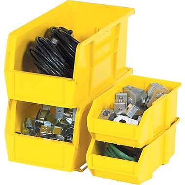 BOX 10 7/8in. x 4 1/8in. x 4in. Plastic Stack and Hang Bin Box, Yellow