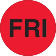 "Tape Logic™ 1"" Circle ""FRI"" Days of the Week Label, Fluorescent Red, 500/Roll"