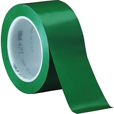 3M™ 2in. x 36 yds. Solid Vinyl Safety Tape 471, Green, 3/Pack
