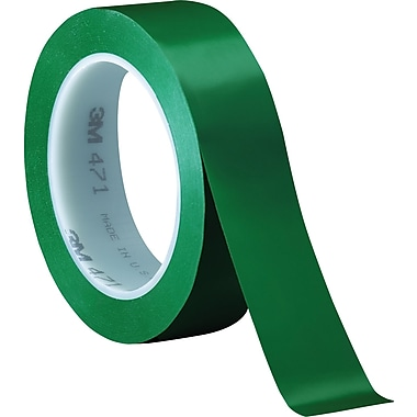 3M™ 1in. x 36 yds. Solid Vinyl Safety Tape 471, Green, 3/Pack
