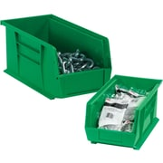 "BOX 10 7/8"" x 4 1/8"" x 4"" Plastic Stack and Hang Bin Box, Green"