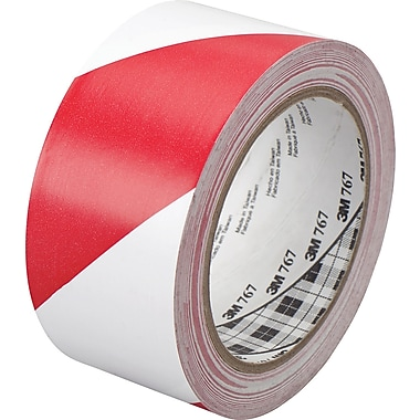3M™ 2in. x 36 yds. Striped Vinyl Tape 767, Red/White, 2/Pack