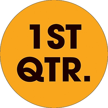 Tape Logic™ 2in. Circle in.1ST QTR.in. Quarter Label, Fluorescent Orange, 500/Roll