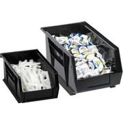 "BOX 5 3/8"" x 4 1/8"" x 3"" Plastic Stack and Hang Bin Box, Black"