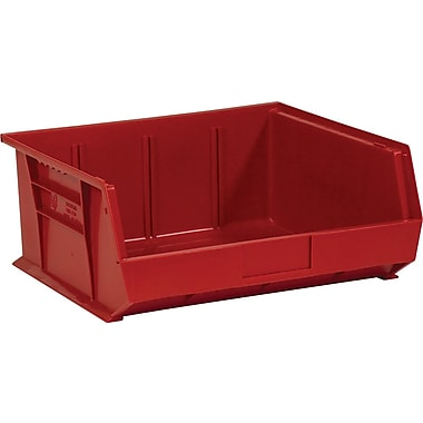BOX 14 3/4in. x 16 1/2in. x 7in. Plastic Stack and Hang Bin Box, Red