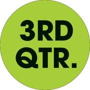 Tape Logic™ 2 Circle 3RD QTR. Quarter Label, Fluorescent Green, 500/Roll