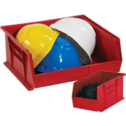 "BOX 10 7/8"" x 4 1/8"" x 4"" Plastic Stack and Hang Bin Box, Red"