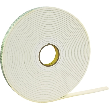 3M™ 1/2in. x 36 yds. Double Coated Foam Tape 4466, White, 1/Pack