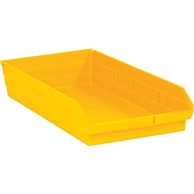 BOX 23 5/8in. x 11 1/8in. x 4in. Plastic Shelf Bin Box, Yellow