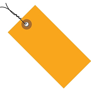 Tyvek® 4 3/4in. x 2 3/8in. Pre-Wired Shipping Tag, Orange, 100/Case