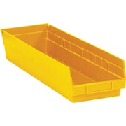 "BOX 23 5/8"" x 6 5/8"" x 4"" Plastic Shelf Bin Box, Yellow"