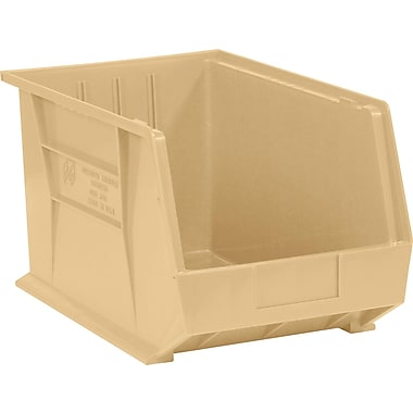 BOX 18in. x 11in. x 10in. Plastic Stack and Hang Bin Box, Ivory