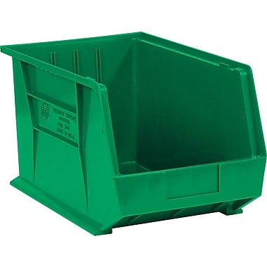BOX 18in. x 11in. x 10in. Plastic Stack and Hang Bin Box, Green