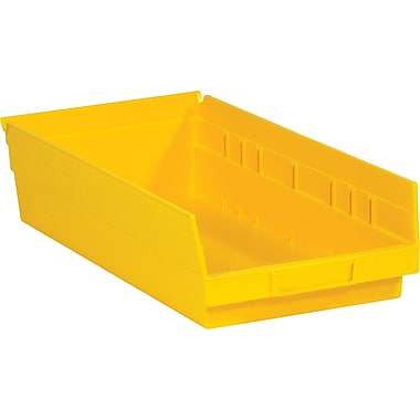 BOX 17 7/8in. x 8 3/8in. x 4in. Plastic Shelf Bin Box, Yellow