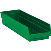 "BOX 23 5/8"" x 6 5/8"" x 4"" Plastic Shelf Bin Box, Green"