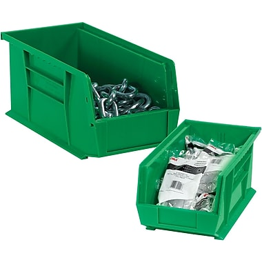 BOX 16in. x 11in. x 8in. Plastic Stack and Hang Bin Box, Green